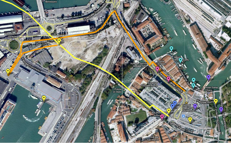 To Venice From The Ship Port Map Directions Piazzale Roma - Venice san marco map