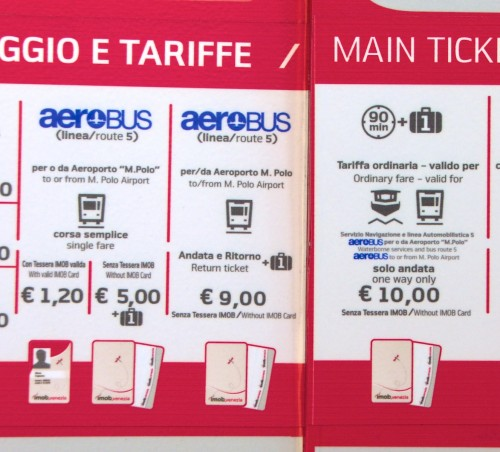 Venice Airport Aerobus Ticket prices