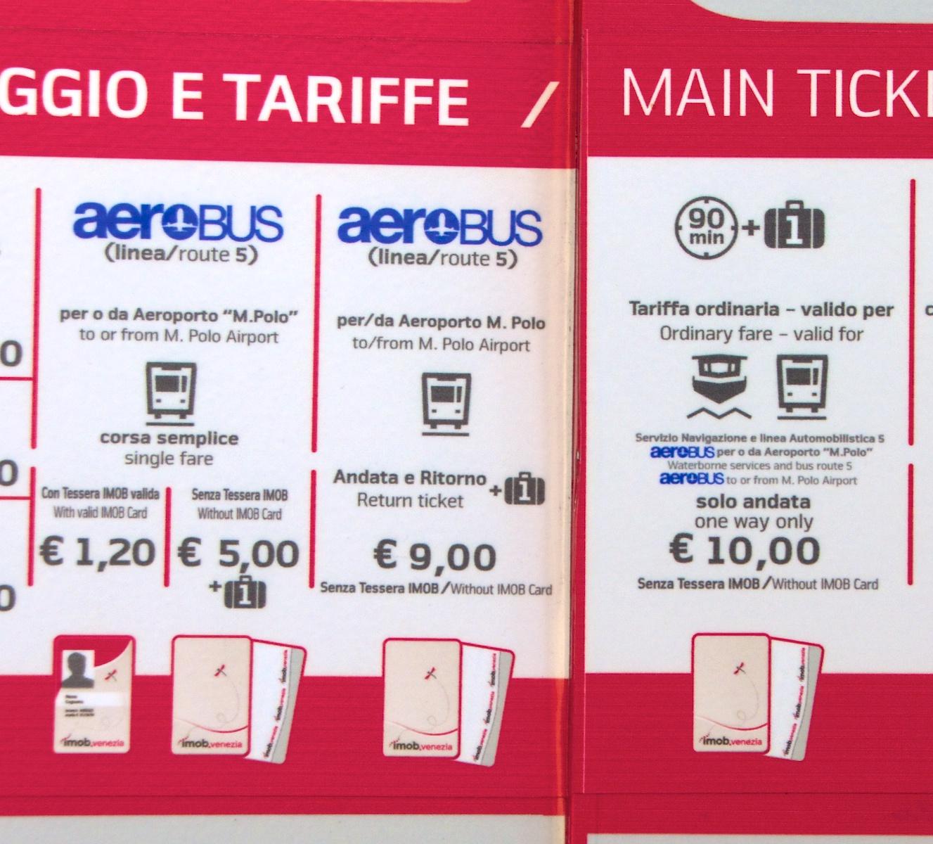 Venice Airport Aerobus Ticket prices