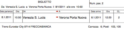 Train ticket - Trenitalia