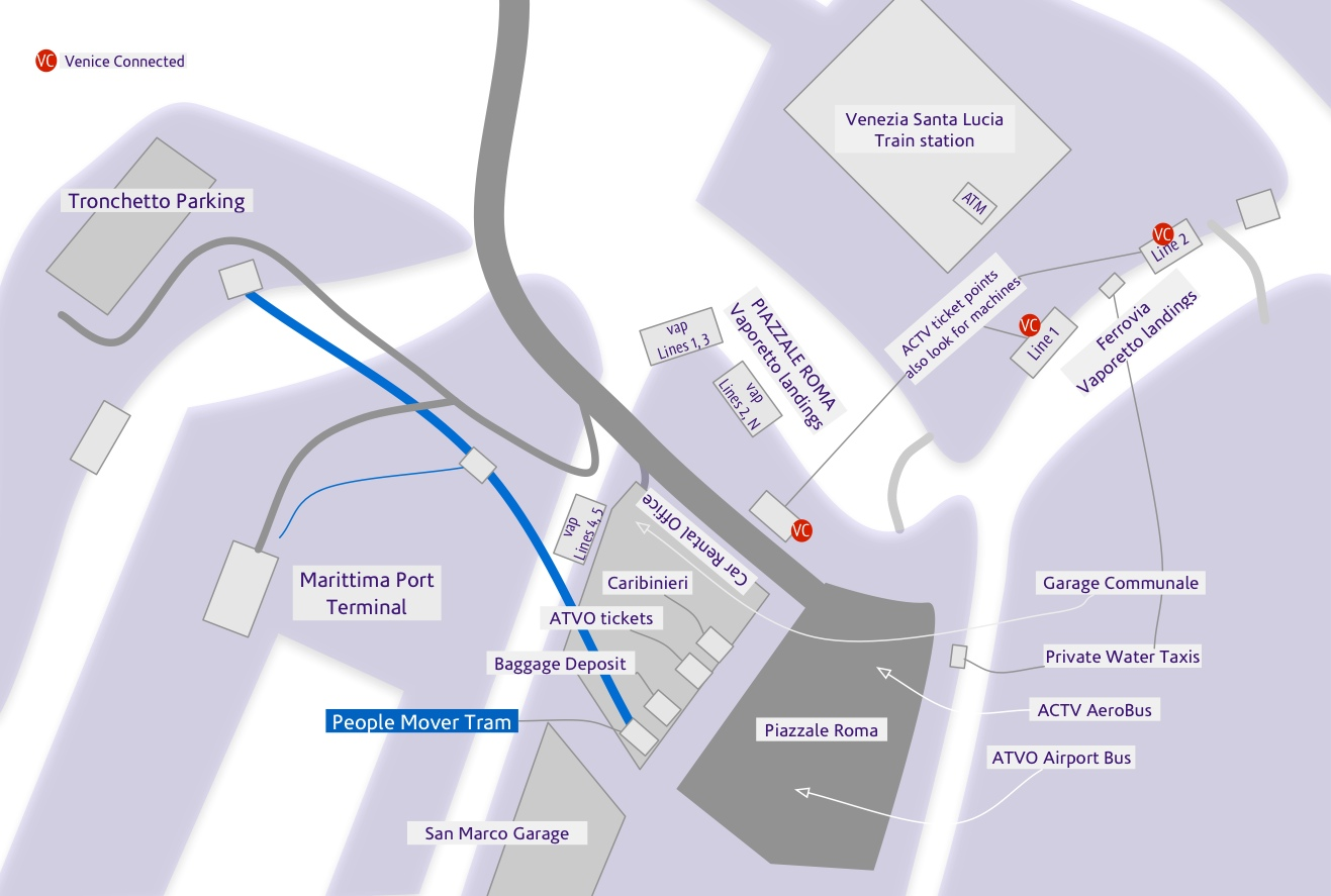 Map of Venice Piazzale Roma and Santa Lucia train stationMap of Piazzale Roma, bag deposit, parking garages, port, and People Mover